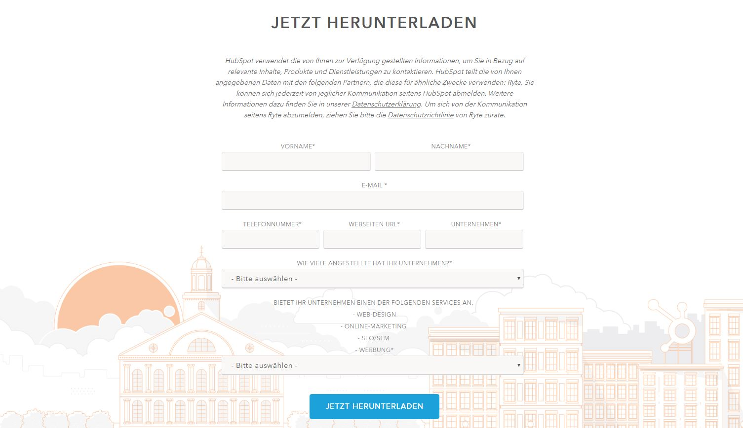 Landing-Pages - Keine Navigationsleiste