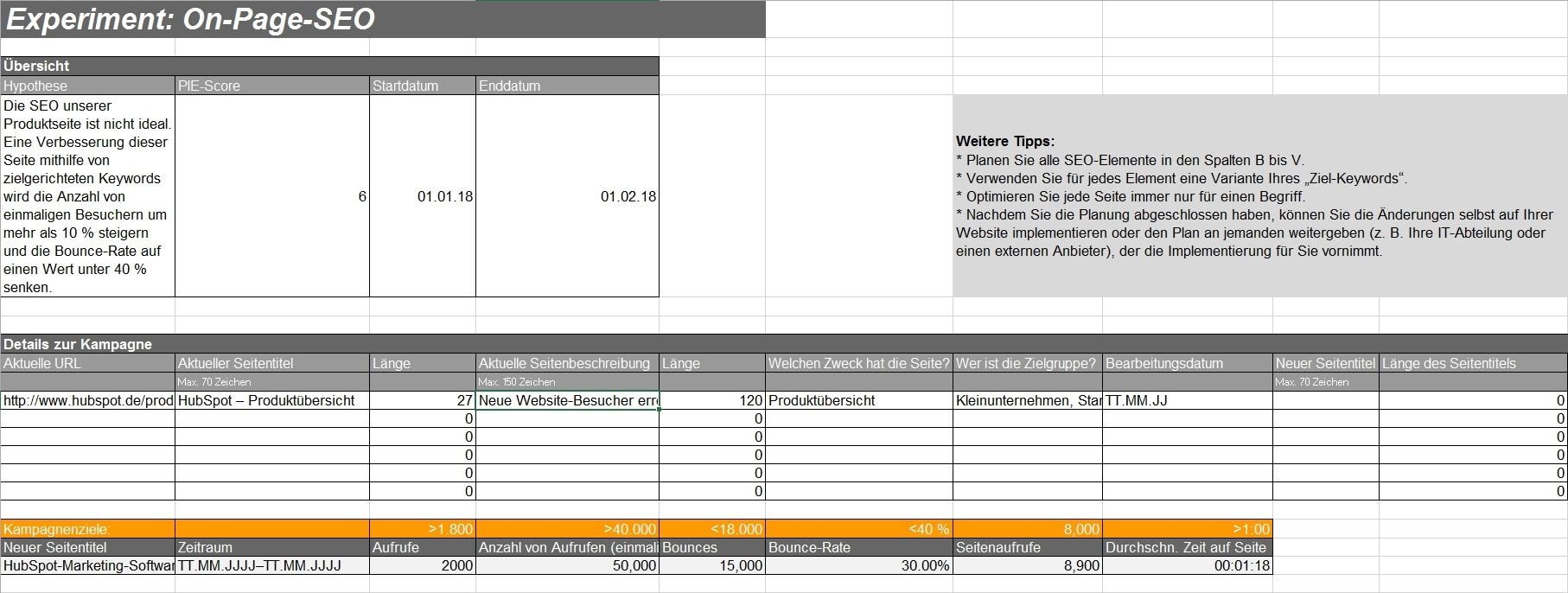 HubSpot - Marketingexperiment-Vorlagen - Beispielbild 2