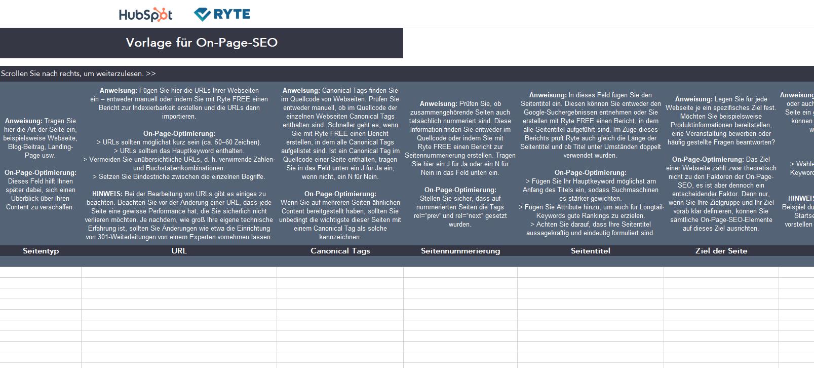 Kit für SEO-Audits – Vorschau 1 – On-Page-SEO-Vorlage