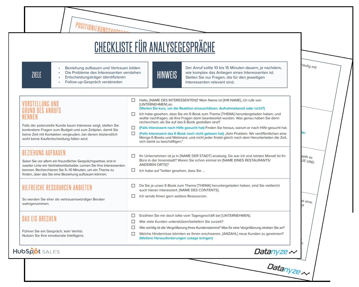Checkliste für Analysegespräche